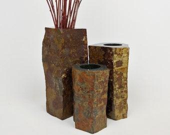 Basalt Column Vase, Stone Vase, Rustic Vase