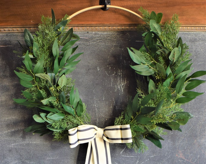 Featured listing image: NEW Willow and Cedar Hoop Wreath