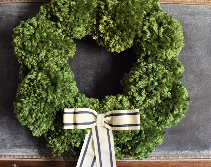 Featured listing image: NEW Kelly Green Pom Pom Wreath with Striped Bow