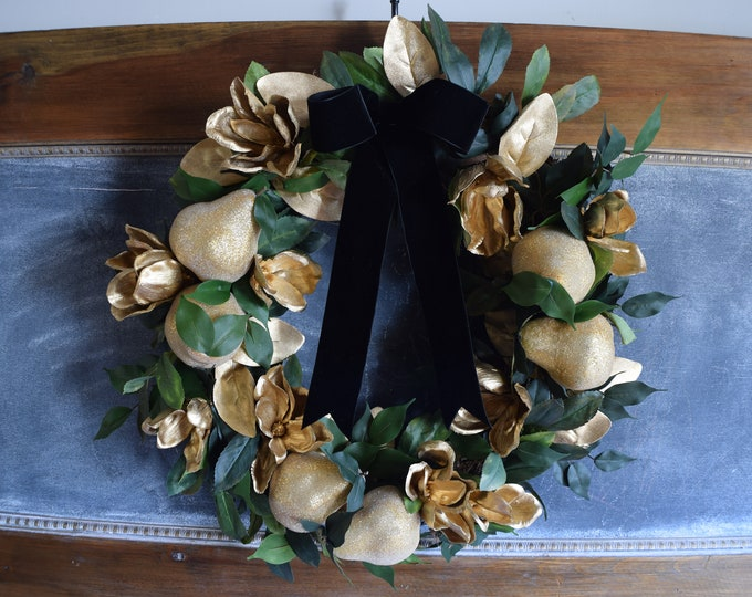 Featured listing image: Golden Pear Christmas Wreath