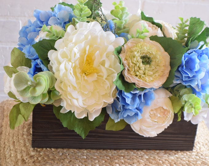 Featured listing image: Peony, Zinnia and Hydrangea Centerpiece, Mother's Day Gift, Easter Decor