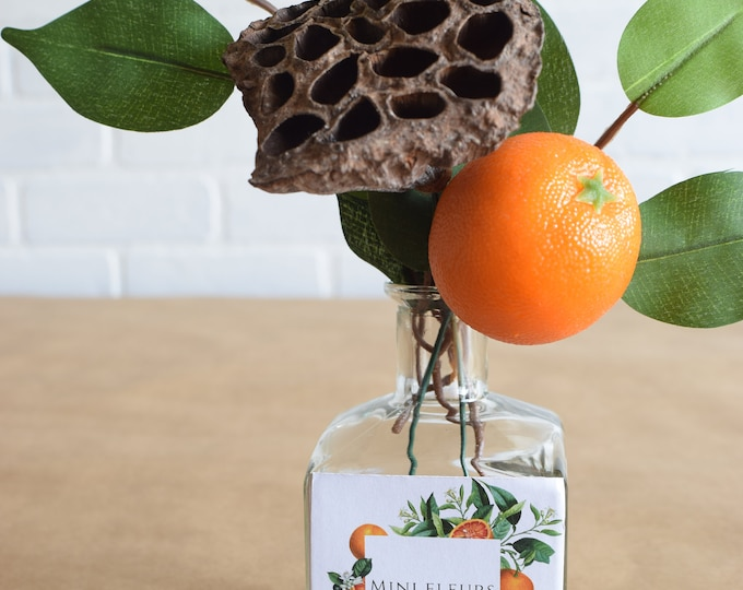 Featured listing image: MINI FLEURS Tangerine, Lotus Pod and Lemon Leaves with Orange Botanical Label