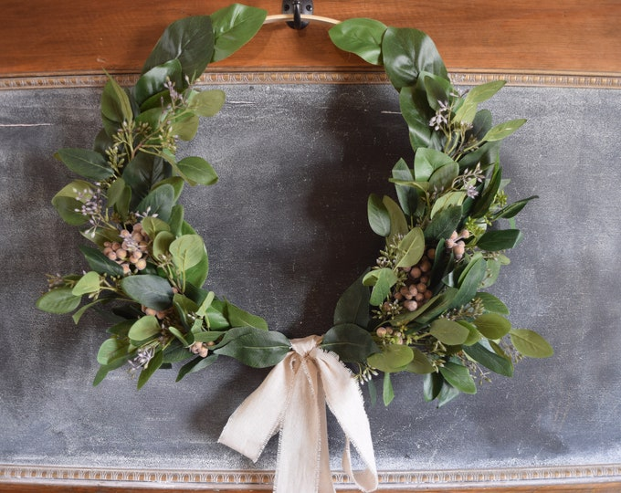 Featured listing image: Seeded Eucalyptus and Brunia Hoop Wreath