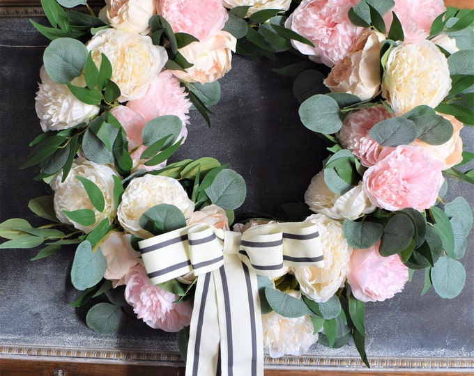 Featured listing image: NEW Pink and Cream Peony Wreath