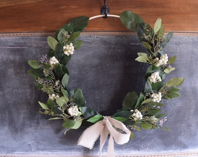 Featured listing image: Seeded Eucalyptus and Cream Brunia Hoop Wreath
