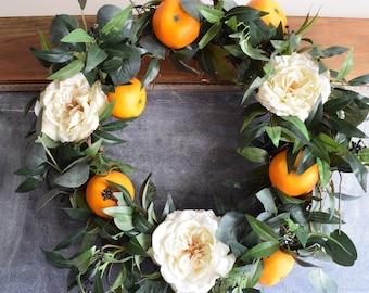 BEST SELLER! The Grove Wreath, spring wreath, front door wreath, wedding wreath, floral wreath, wedding florals, orange wreath
