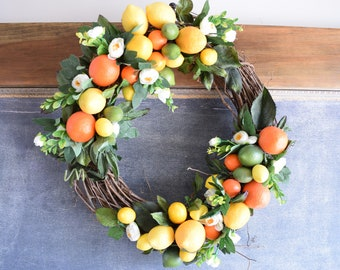 The Lemon-Lime Wreath, Spring wreath, summer wreath, citrus wreath, lemon wreath