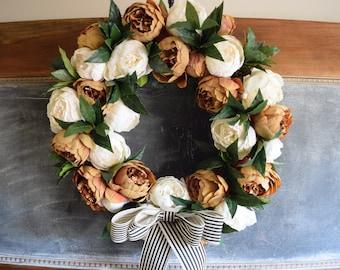 Fall Coffee + Cream Peony Wreath