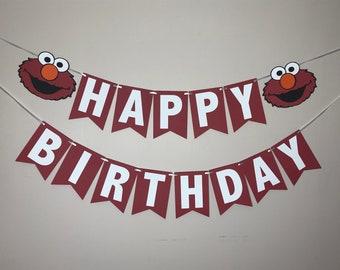 Elmo Sesame Street Happy Birthday Banner - Red Elmo Cake Smash Birthday Party Banner - Photo Shoot Banner - Sesame Street Birthday