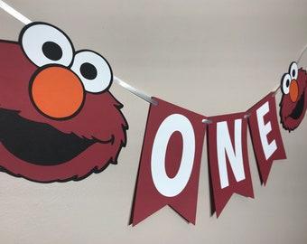Elmo Sesame Street Age High Chair Banner - Red Elmo Cake Smash Birthday Party Banner - Photo Shoot Banner - Sesame Street Birthday