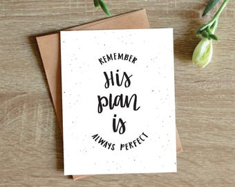 His Plan is Always Perfect flat greeting card