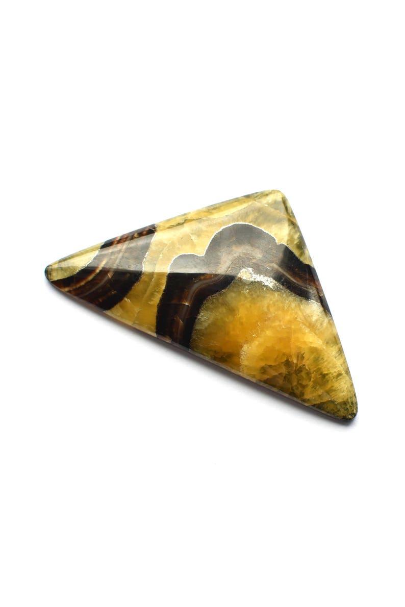 Ammonite Simbircite with pyrite 56 x 30 \u0445 6 mm Natural gemstone cabochon