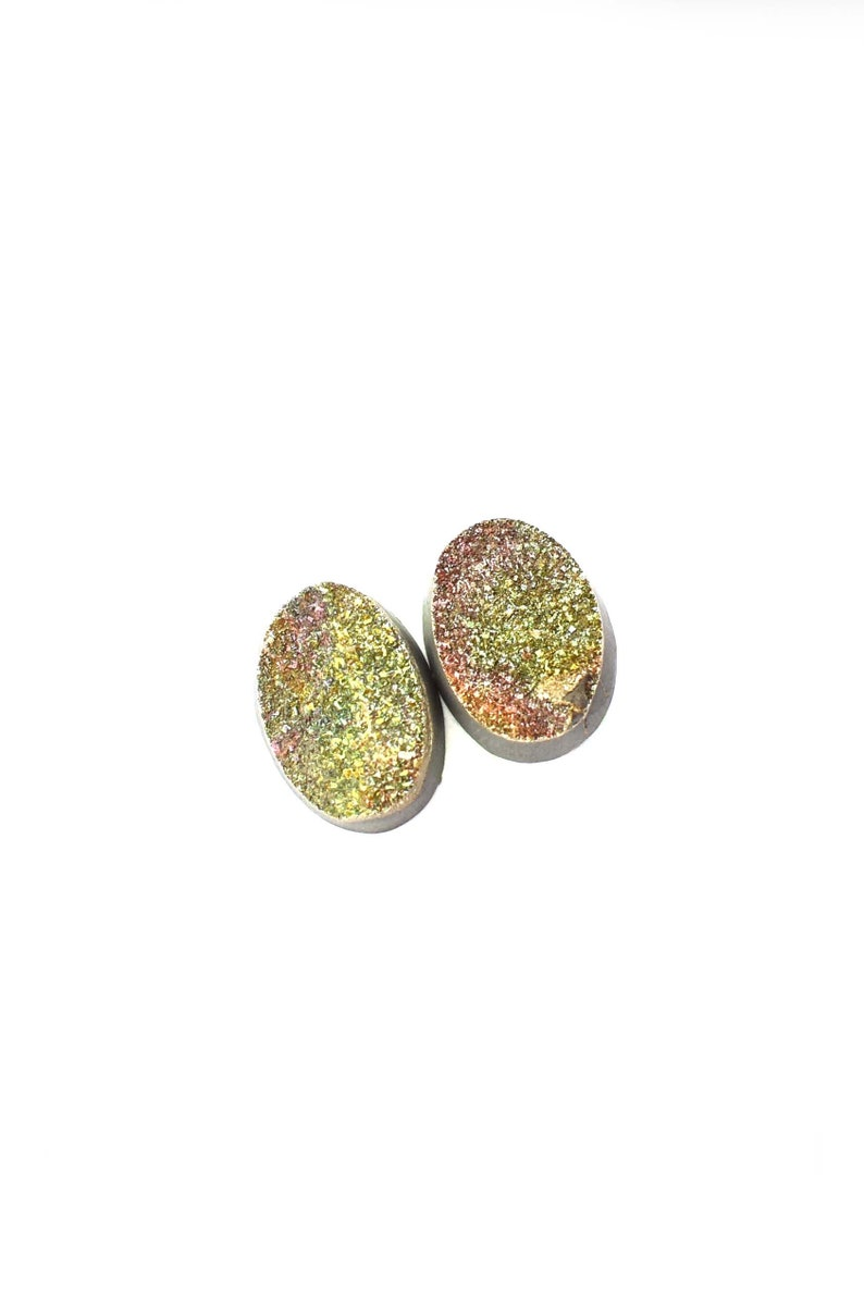 Rainbow Pyrite druse Marcasite High quality natural stone cabochon 17 x 11 x 4 mm Pair