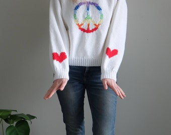 vintage peace and love peace sign with hearts white rainbow hand knit sweater | one of a kind