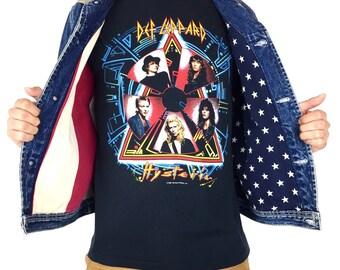 1f3097a7 Rare Vintage 90s Tommy Hilfiger big American Flag lined blue jean denim  jacket - Size S