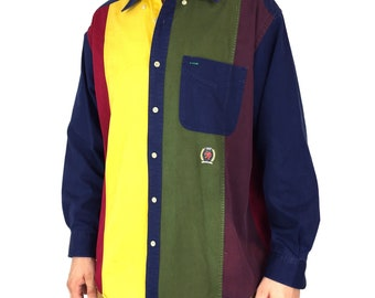 4784a8fa Vintage 90s Tommy Hilfiger color block striped Crest logo oxford collared  button up tee t-shirt shirt - Size M