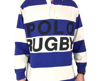 2511bccb0 Rare Vintage 90s Polo Ralph Lauren Rugby spell out long sleeve embroidered  blue white quarter button long sleeve shirt - Size M