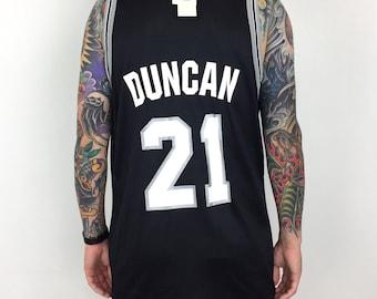 Rare Deadstock NWT Vintage 90s Champion NBA San Antonio Spurs Tim Duncan   21 black basketball jersey - Size 48   XL 9397576b9