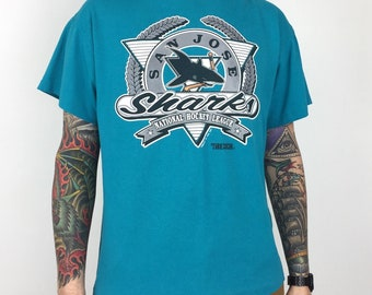 Vintage 90s 1991 91 NHL San Jose Sharks Trench Mfg Made in USA single  stitch hockey graphic tee t-shirt shirt - Size XL ad7a553d3d82