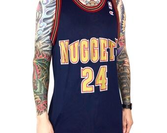 3d7e372d Vintage 90s Champion NBA Denver Nuggets Antonio McDyess #24 navy blue basketball  jersey - Size 44 / L