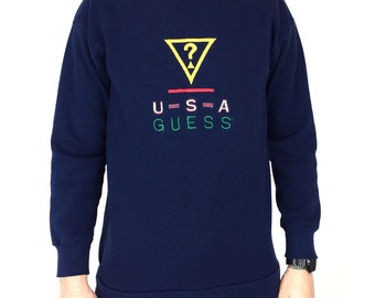 98ed7dee0 Vintage 90s Guess Jeans USA Georges Marciano navy blue embroidered Made in  USA pullover crewneck graphic sweatshirt - Size M