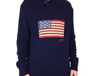 3cbe94752 Rare Vintage 90s Polo Ralph Lauren RL 67 RL67 American Flag pullover shawl  neck sweater - Size XL