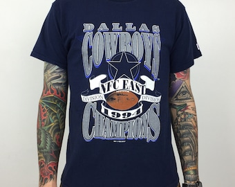 Vintage 90s 1994 94 NFL Dallas Cowboys NFC East Division Champs Champions  Logo 7 football graphic tee t-shirt shirt - Size M b0e183519