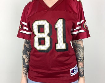 Vintage 90s Champion NFL San Francisco 49ers Forty Niners Terrell Owens  81  red football jersey - Size Youth   Women s M f73de0392