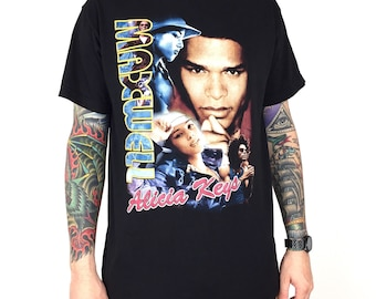 aa0cd82c Rare Vintage 01 Maxwell Alicia Keys rap tee hip hop double sided tour  graphic t-shirt shirt - Size L. BatCityVintageUS. in United States