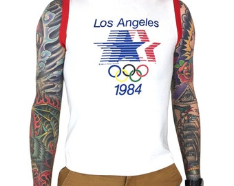 1e830e5f0046c Rare Vintage 80s Levis 1984 84 LA Los Angeles Olympics Olympic Games Made  in USA tank top ringer graphic tee t-shirt shirt - Size S