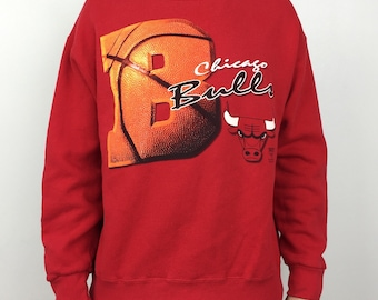 a24717450 Vintage 90s NBA Chicago Bulls Lee Sport Nutmeg Mills red pullover crewneck  basketball graphic sweatshirt - Size L