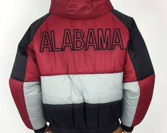 7fd7edf060c Vintage 90s NCAA University of Alabama Crimson Roll Tide Pro Player zip up  embroidered college puffer parka jacket - Size M