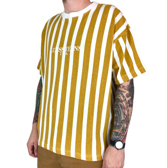 Rare Vintage 90s Guess Jeans USA vertical striped embroidered mustard yellow graphic tee t-shirt shirt - Size XL