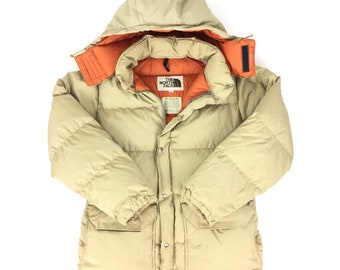 Rare Vintage 70s TNF The North Face Brown Label talon tan beige down puffer quilted bubble parka jacket coat w/ removable hood - Size M