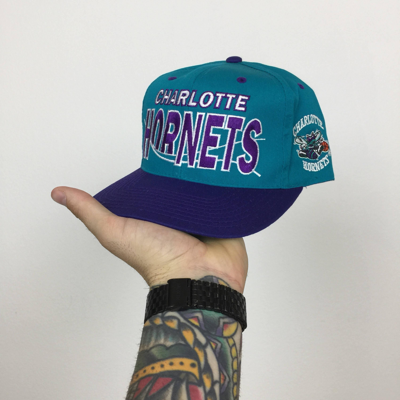 e1e5932def81a ... sale vintage 90s nba charlotte hornets spell out logo gcc gcap  basketball snapback hat d4b02 6331b