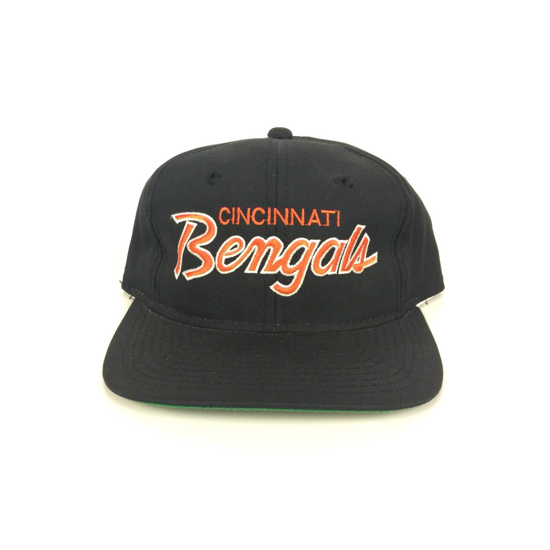Rare Vintage 90s Sports Specialties NFL Cincinnati Bengals double line  Twill Script snapback hat 5b9c57fd4858