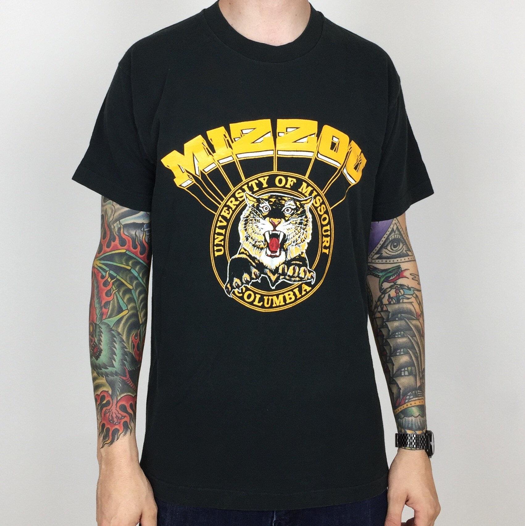 7bc26d06efe Vintage 90s NCAA University of Missouri Mizzou Tigers Columbia black single  stitch college graphic tee t-shirt shirt - Size M