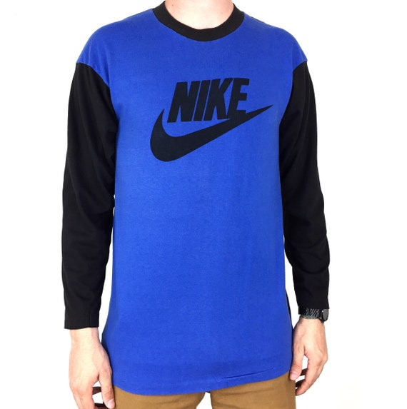 Rare Vintage 80s Blue Tag Nike Made in USA two tone long sleeve swoosh logo single stitch graphic tee t-shirt shirt - Size M