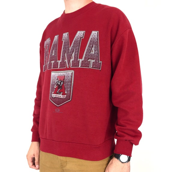Vintage 90s NCAA University of Alabama Crimson Roll Tide Made in USA pullover crewneck college graphic sweatshirt - Size L