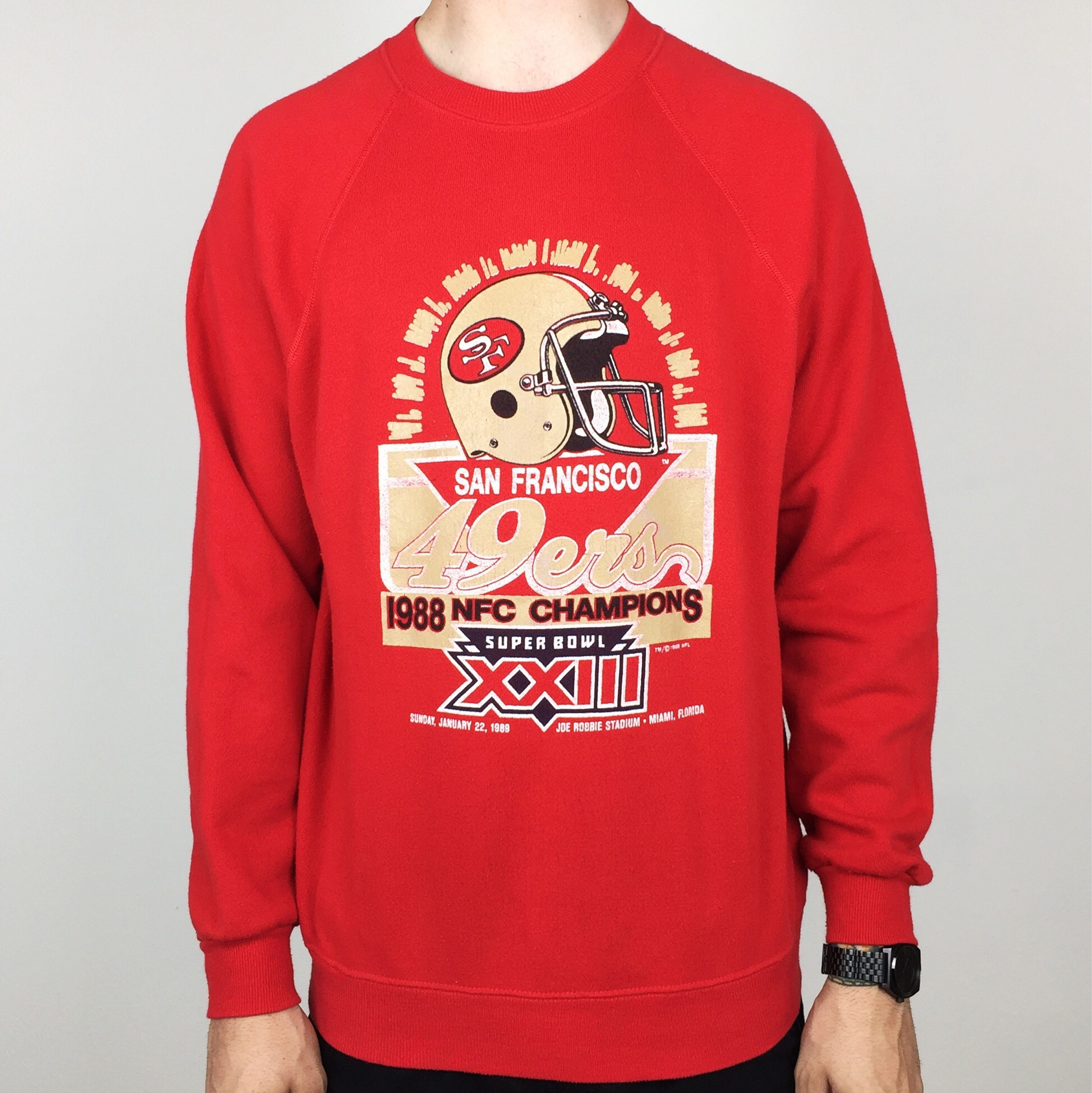 Rare Vintage 80s 1988 88 NFL San Francisco 49ers  88 NFC Champions Champs  Super Bowl XXIII pull over crewneck football sweatshirt - Size M-L 663974ff9