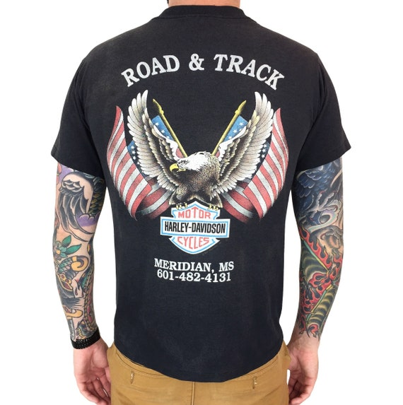 Vintage 90s 1991 91 Harley Davidson Freedom Meridian Mississippi single stitch moto motorcycle graphic tee t-shirt shirt - Size M