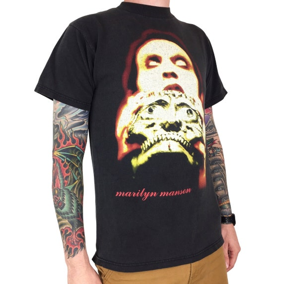 Rare Vintage 90s Marilyn Manson Skull Winterland double sided grunge goth rock and n roll band graphic tee t-shirt shirt - Size M