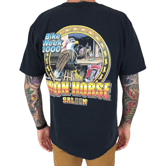 Vintage 2000 Daytona Bike Week Iron Horse Harley Davidson moto motorcycle graphic pocket tee t-shirt shirt - Size L-XL