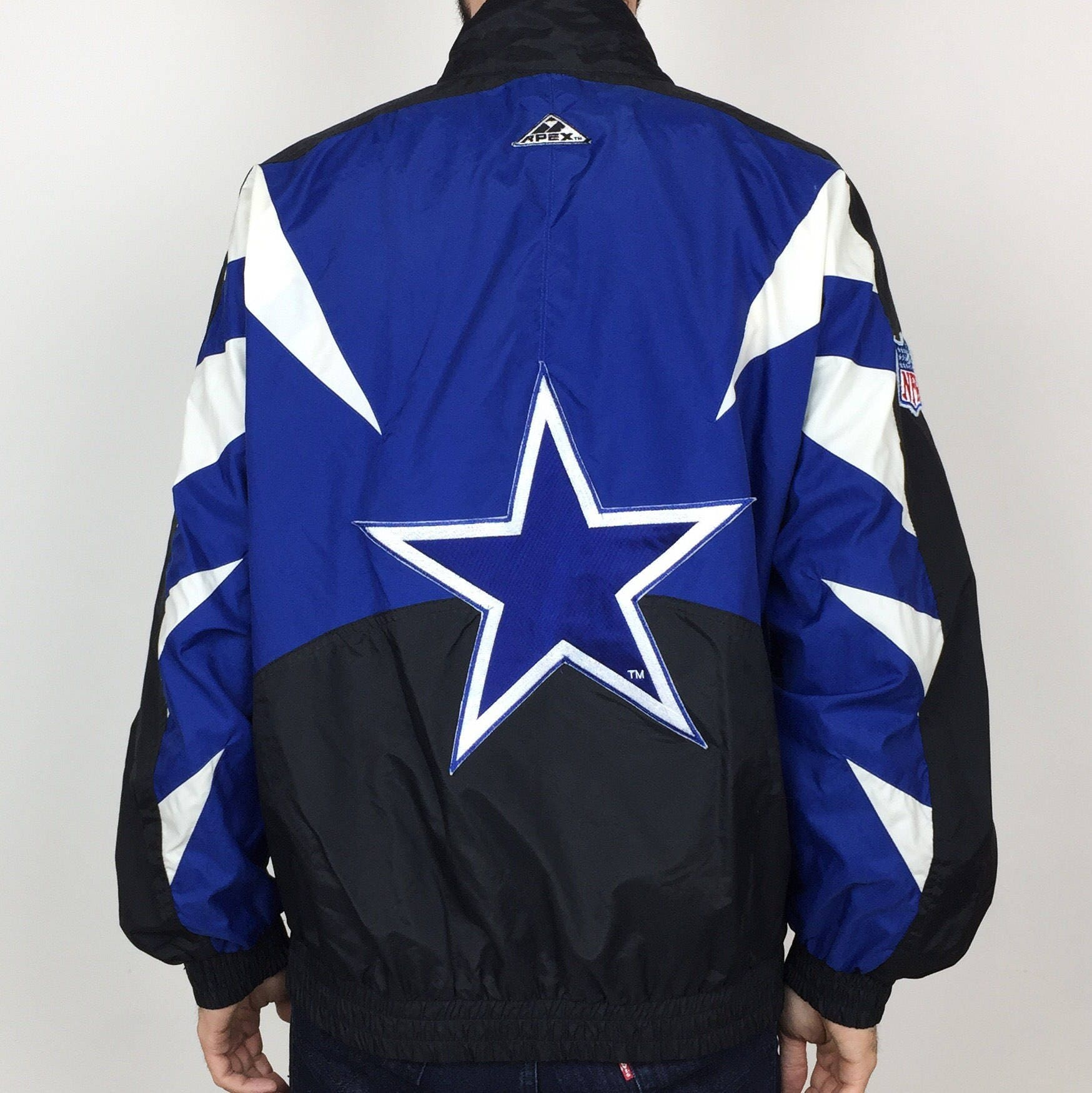 RARE Vintage 90s NFL Dallas Cowboys Apex One zip up football windbreaker  jacket - Size M 7a3fe7b83