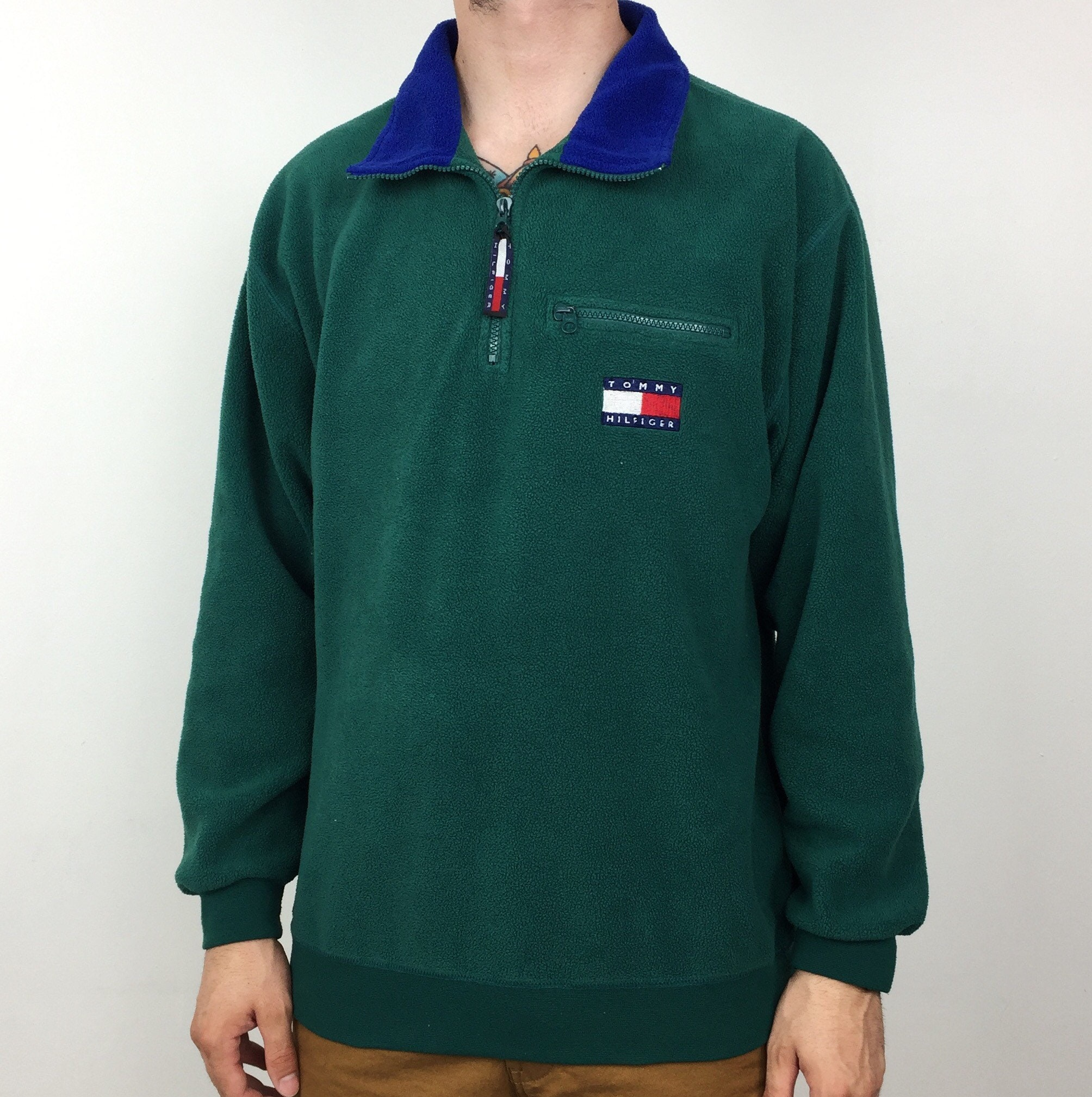 7824dcbd Vintage 90s Tommy Hilfiger big flag logo patch embroidered forest green  pullover quarter zip fleece jacket - Size M