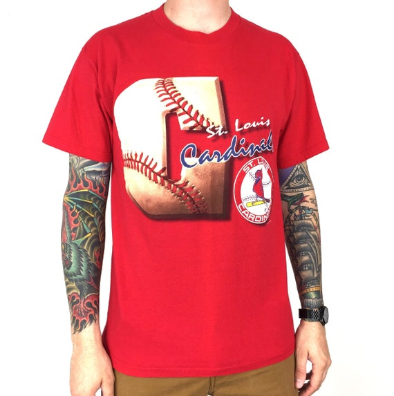 Vintage 90s 1996 96 MLB St Louis Cardinals Lee Sport Nutmeg Mills Made in USA red baseball graphic tee t-shirt shirt - Size L