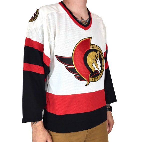Deadstock Vintage 90s 1997 97 CCM NHL Ottawa Senators stitched sewn hockey jersey - Size S