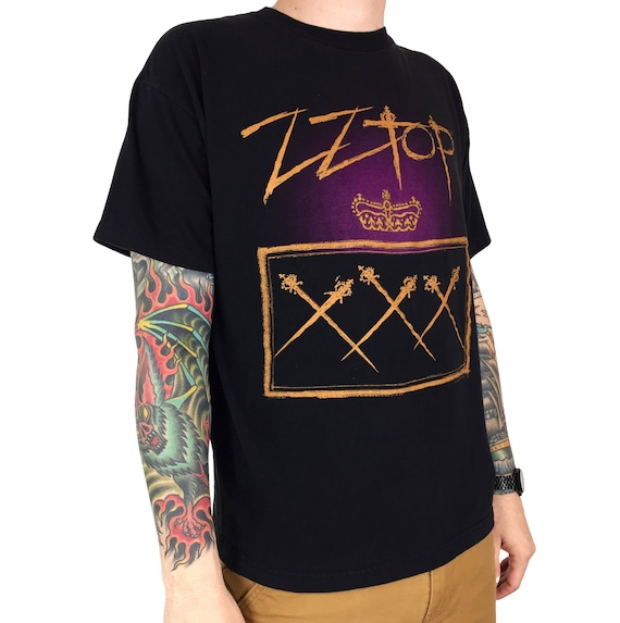 Vintage 90s 1999 ZZ Top XXX Tour Giant double sided band concert graphic tee t-shirt shirt - Size L