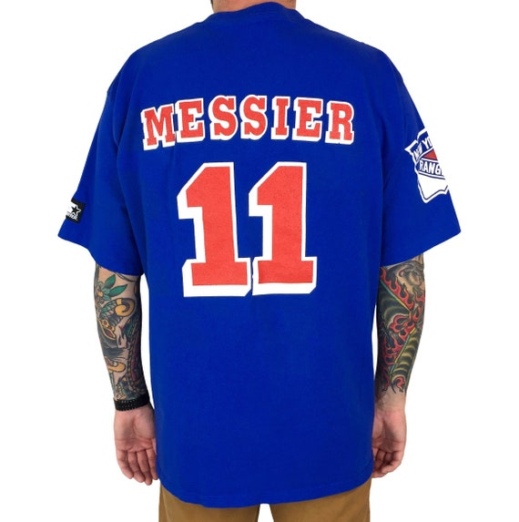 Vintage 90s Starter NHL New York Rangers Mark Messier single stitch Made in USA hockey graphic tee t-shirt shirt - Size XL