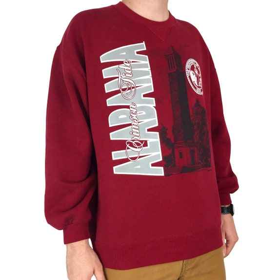 Vintage 80s 1989 89 NCAA University of Alabama Crimson Roll Tide Made in Usa pullover crewneck college graphic sweatshirt - Size XL-XXL